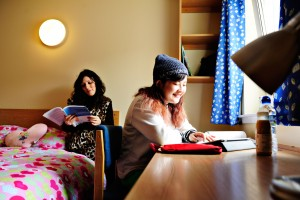 INTO-GCU-students-studying-in-accommodation