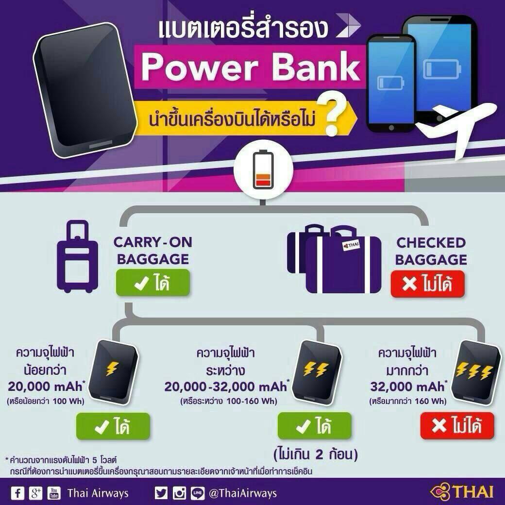 ห้ามนำ power bank ขึ้นเครื่องสายการบิน Thai airways