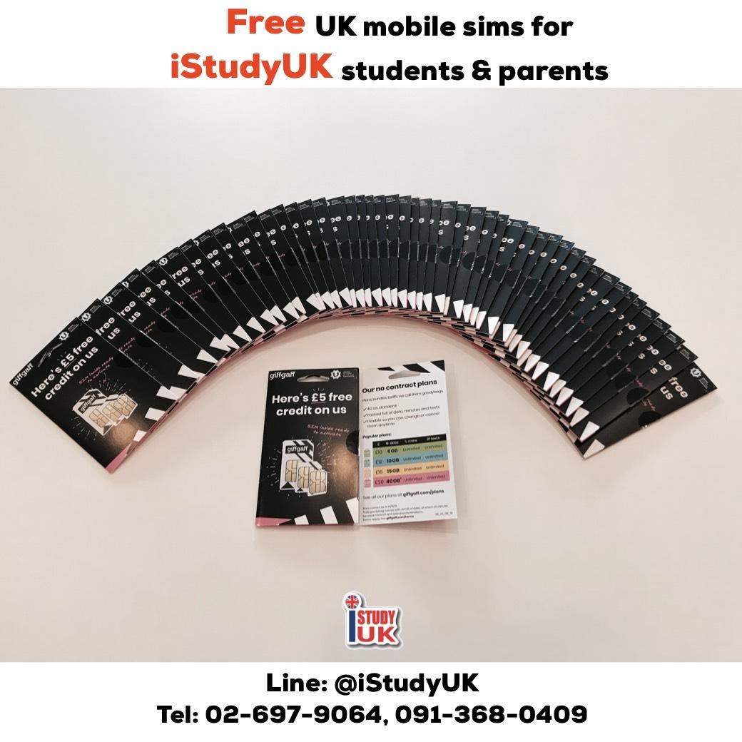 สมัครเรียนกับ iStudyUK พี่ๆ แจกซิมมือถือประเทศอังกฤษ ฟรี ให้กับนักเรียนและผู้ปกครองไปใช้ในประเทศอังกฤษ ซิมนี้ใช้ในยุโรปได้ด้วยเช่นกันค่ะ Free UK Mobile sims for all iStudyUK students and parents. 2019 ประเทศอังกฤษกับ เอเยนซี่ I Study UK ปรึกษาฟรีดูแลตลอดระยะเวลาในต่างแดน เจ้าหน้าที่ I Study UK ผ่านการอบรมความรู้เฉพาะโดย British Council