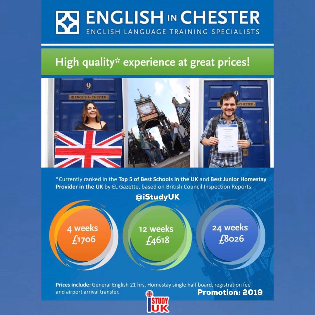 เรียนต่ออังกฤษ English in Chester School โรงเรียนสอนภาษาเน้นคุณภาพชั้นนำในประเทศอังกฤษ สมัคร English in Chester School กับ เอเยนซี่ I Study UK ปรึกษาฟรีดูแลตลอดระยะเวลาในต่างแดน