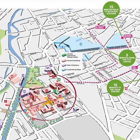 De Montfort University DMU location in Leicester city