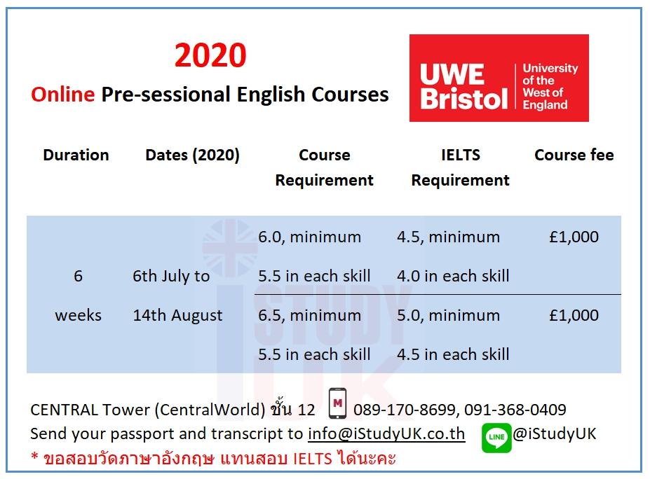 เรียต่ออังกฤษ ตารางเรียนพรีเซส Online Pre-sessional English Course-2020 at UWE เรียนต่ออังกฤษใน UWE Bristol บริสทรัล